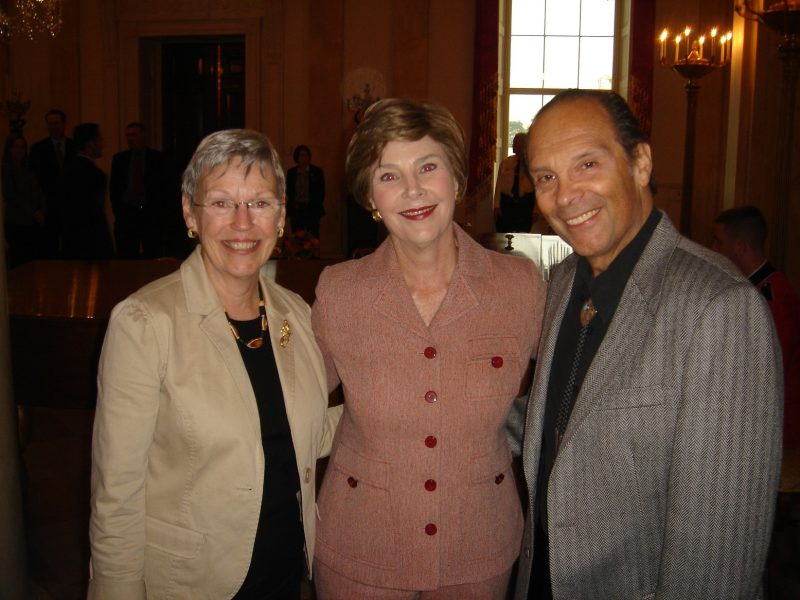 Ted and Betsy Lewin with Laura Bush, 2006 National Book Festival